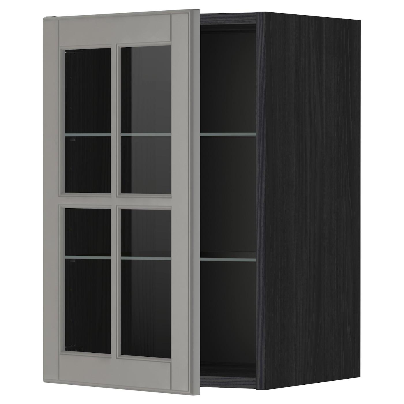 Dark Kitchen Cabinets With Glass Doors: METOD Wall Cabinet W Shelves/glass Door Black/bodbyn Grey