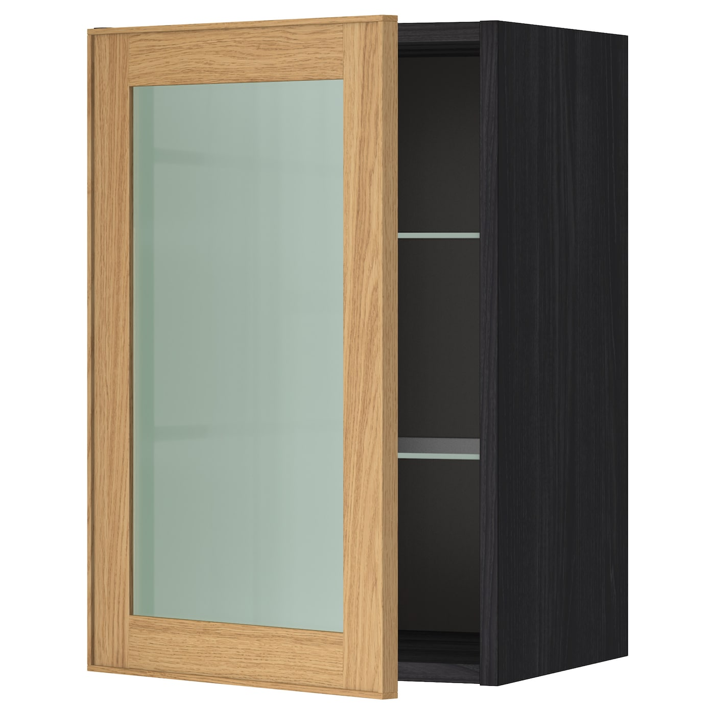 Metod Wall Cabinet W Shelvesglass Door Blackekestad Oak 40 X 60 Cm
