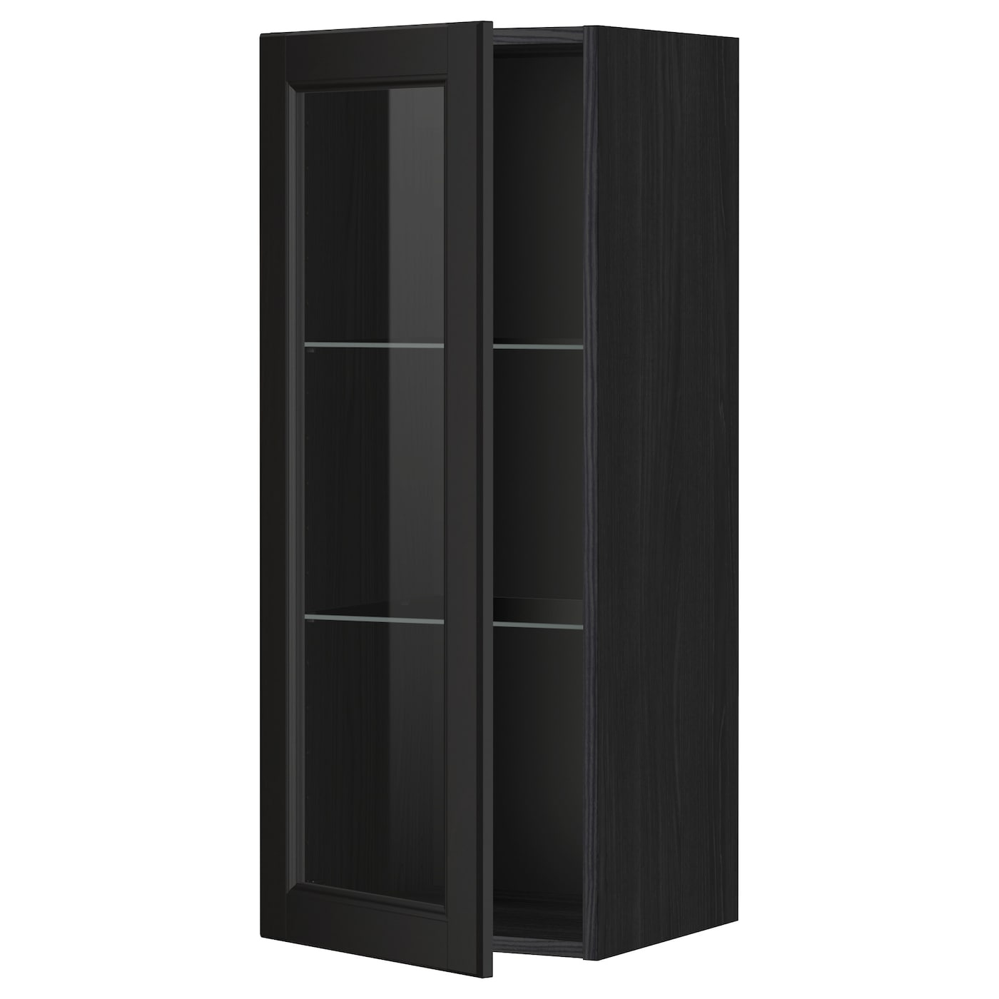 Metod Wall Cabinet W Shelves Glass Door Black Laxarby