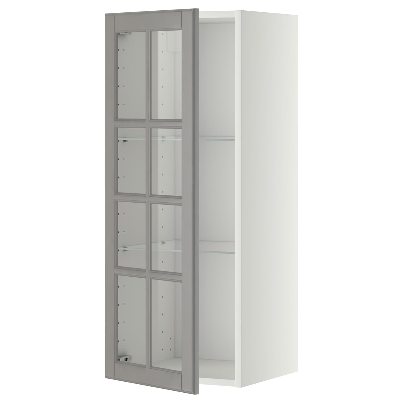 Metod wall cabinet w shelves glass door white bodbyn grey for Ikea glass door wall cabinet