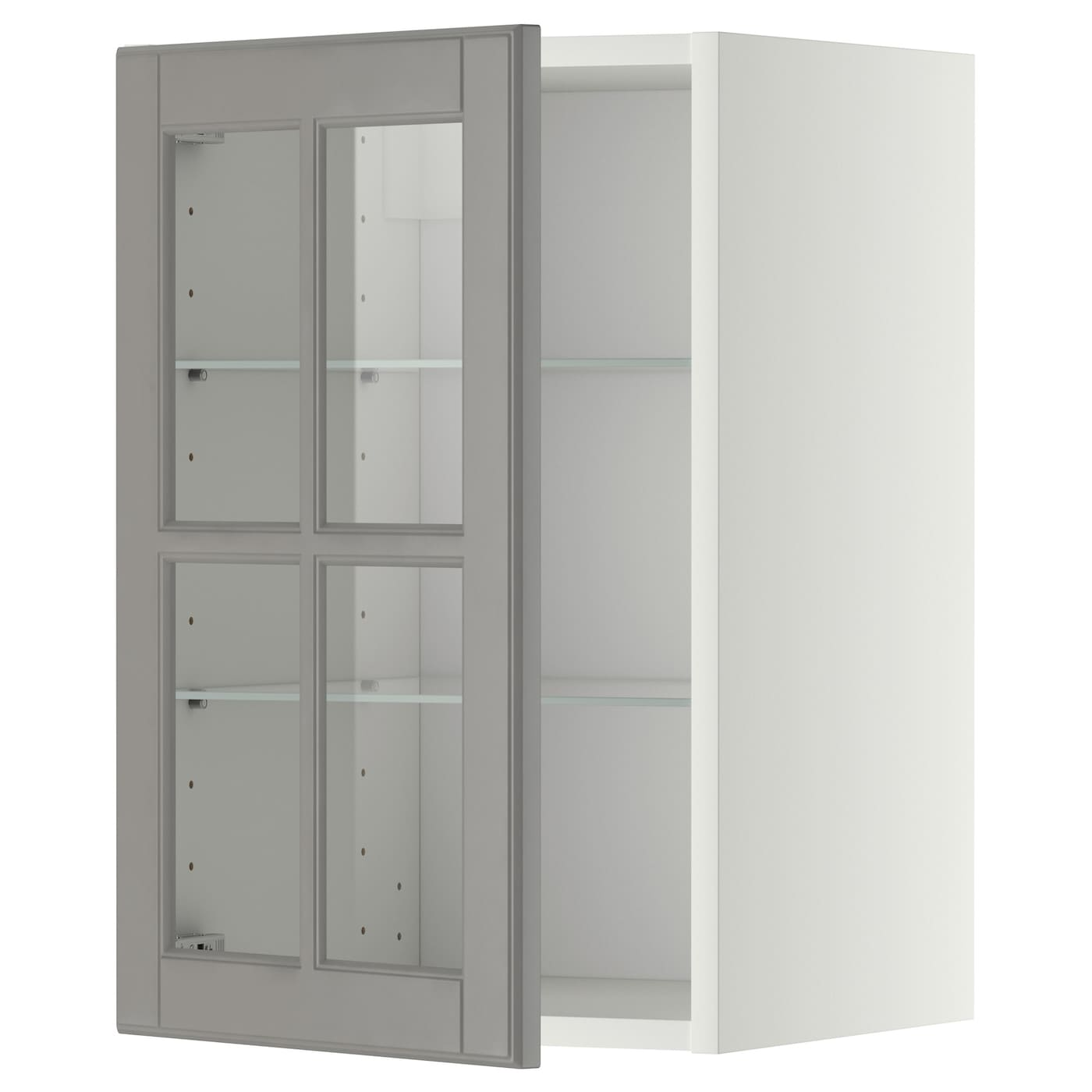 glass door kitchen wall cabinet metod wall cabinet w shelves glass door white bodbyn grey 6813