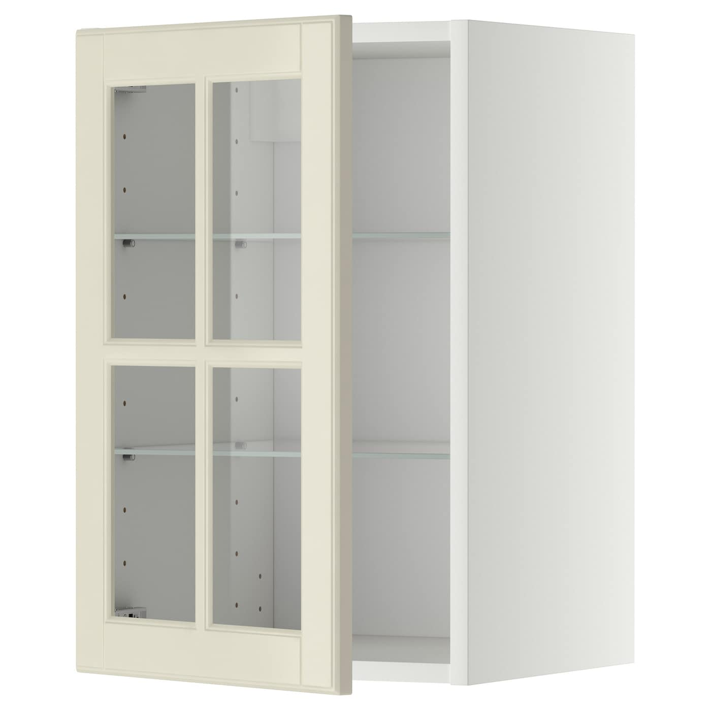 Metod wall cabinet w shelves glass door white bodbyn off for Ikea glass door wall cabinet