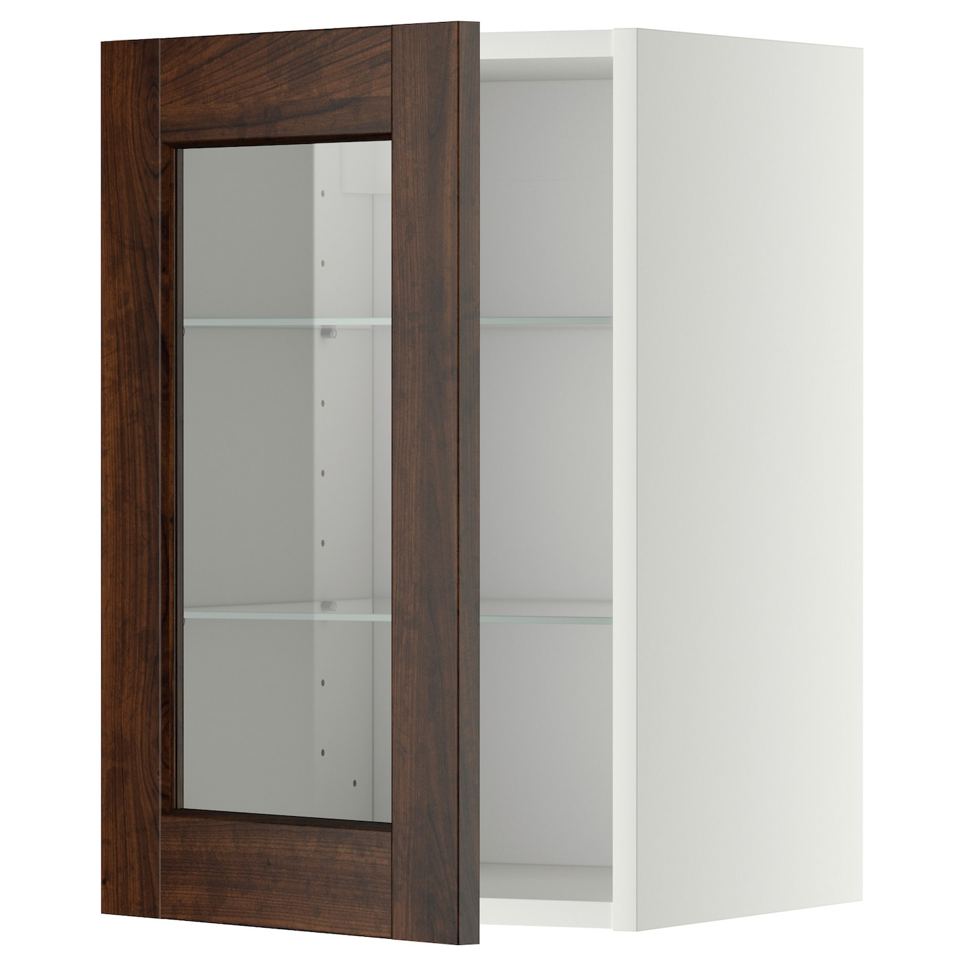 Metod wall cabinet w shelves glass door white edserum for Ikea glass door wall cabinet