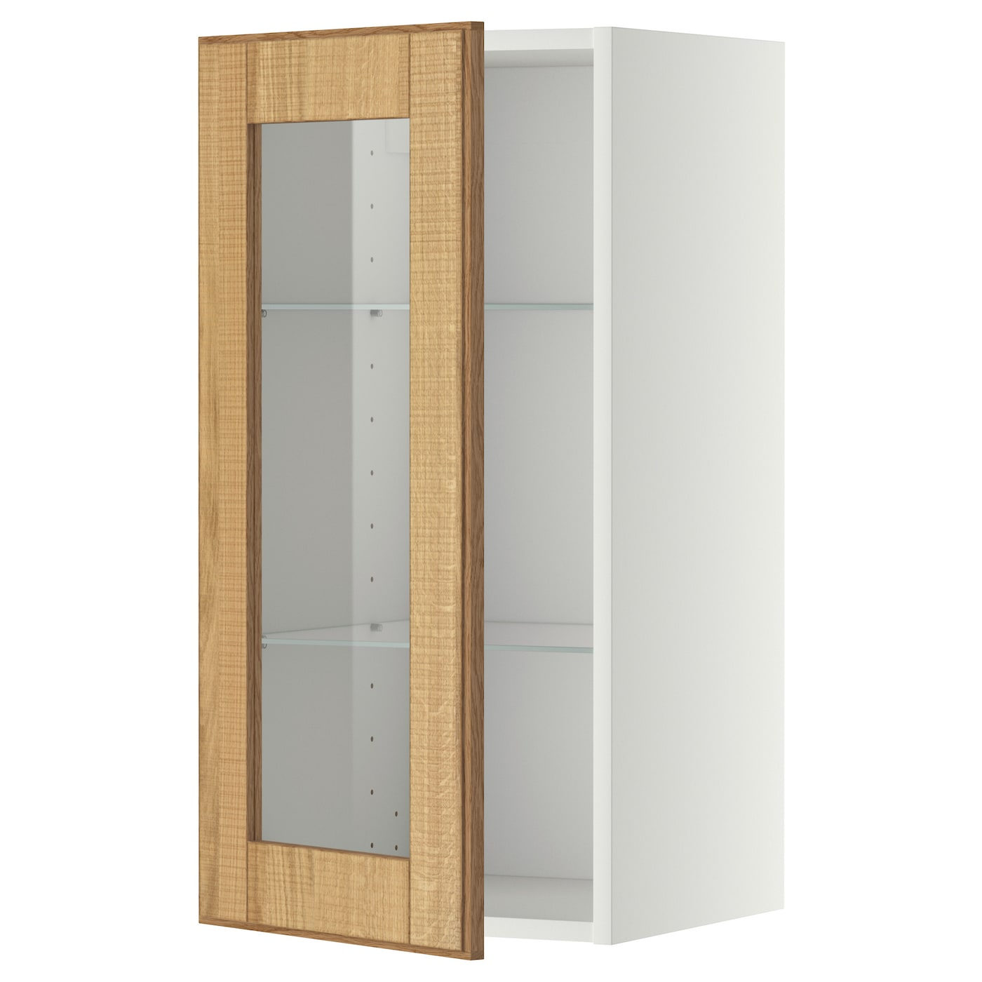 Metod wall cabinet w shelves glass door white hyttan oak for Ikea glass door wall cabinet