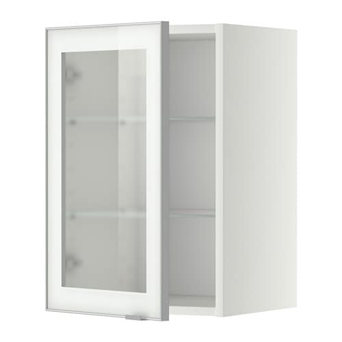 Metod Wall Cabinet W Shelvesglass Door Whitejutis Frosted Glass 40