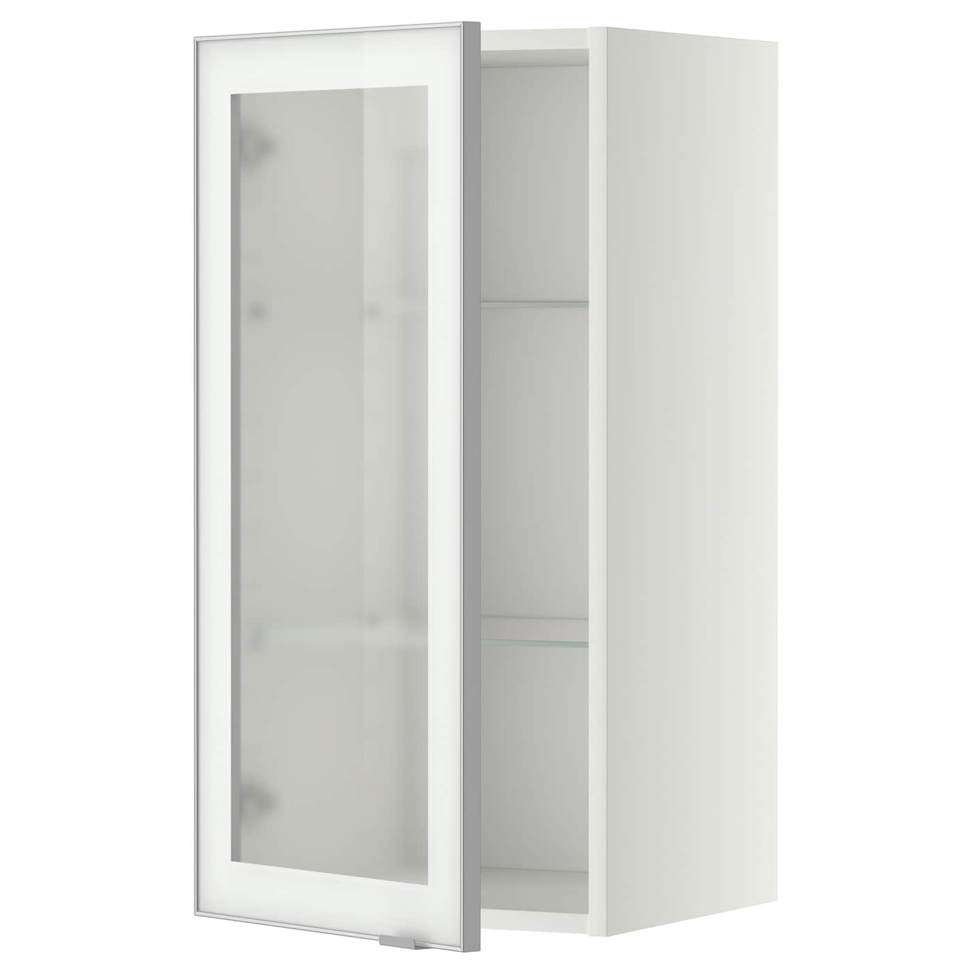 Metod wall cabinet w shelves glass door white jutis for Glass kitchen wall units
