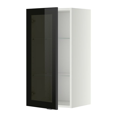 Metod Wall Cabinet W Shelvesglass Door Whitejutis Smoked Glass