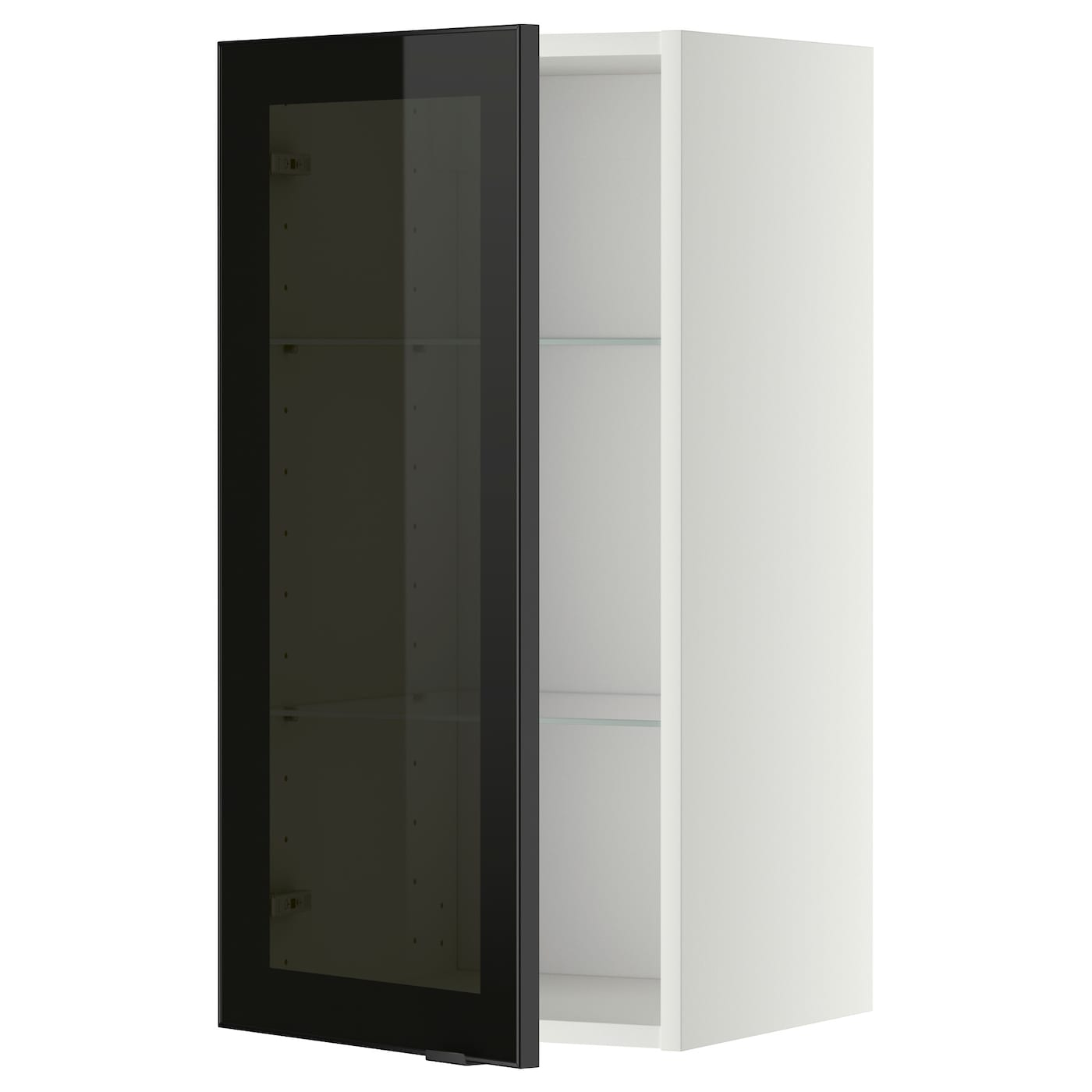 Metod wall cabinet w shelves glass door white jutis smoked for Ikea glass door wall cabinet
