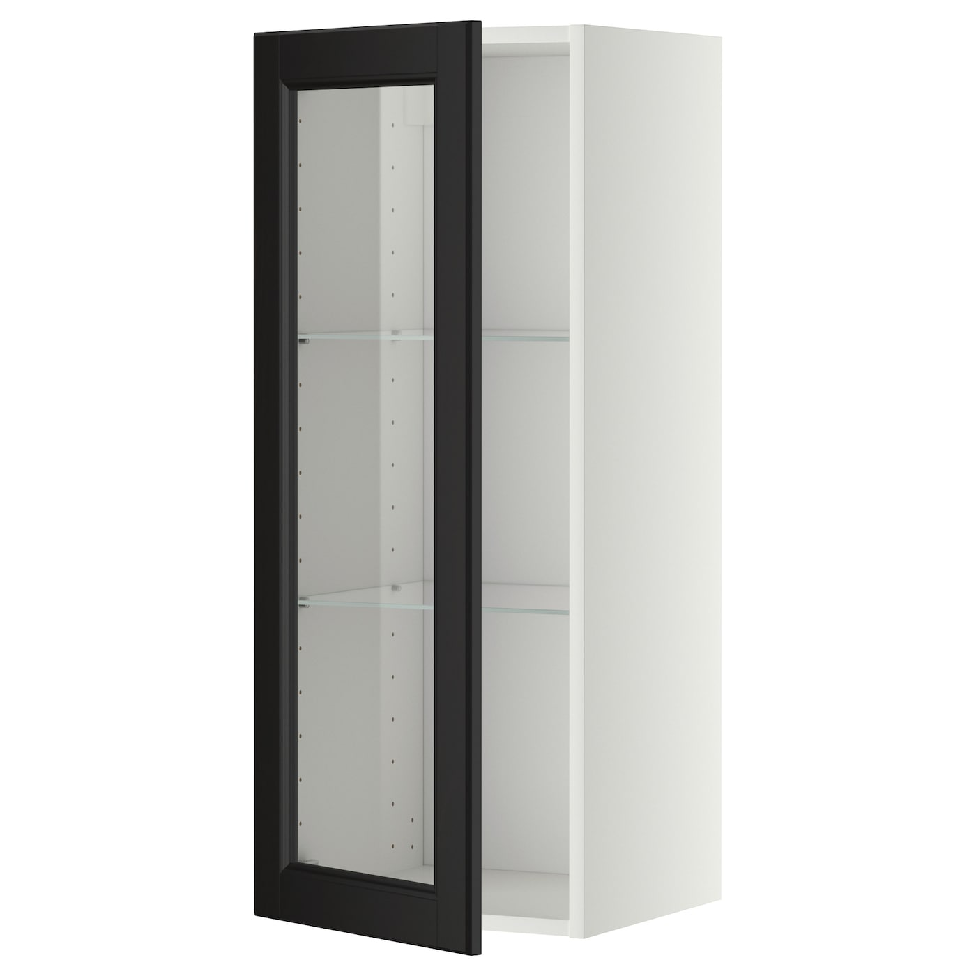 Metod wall cabinet w shelves glass door white laxarby for Ikea glass door wall cabinet