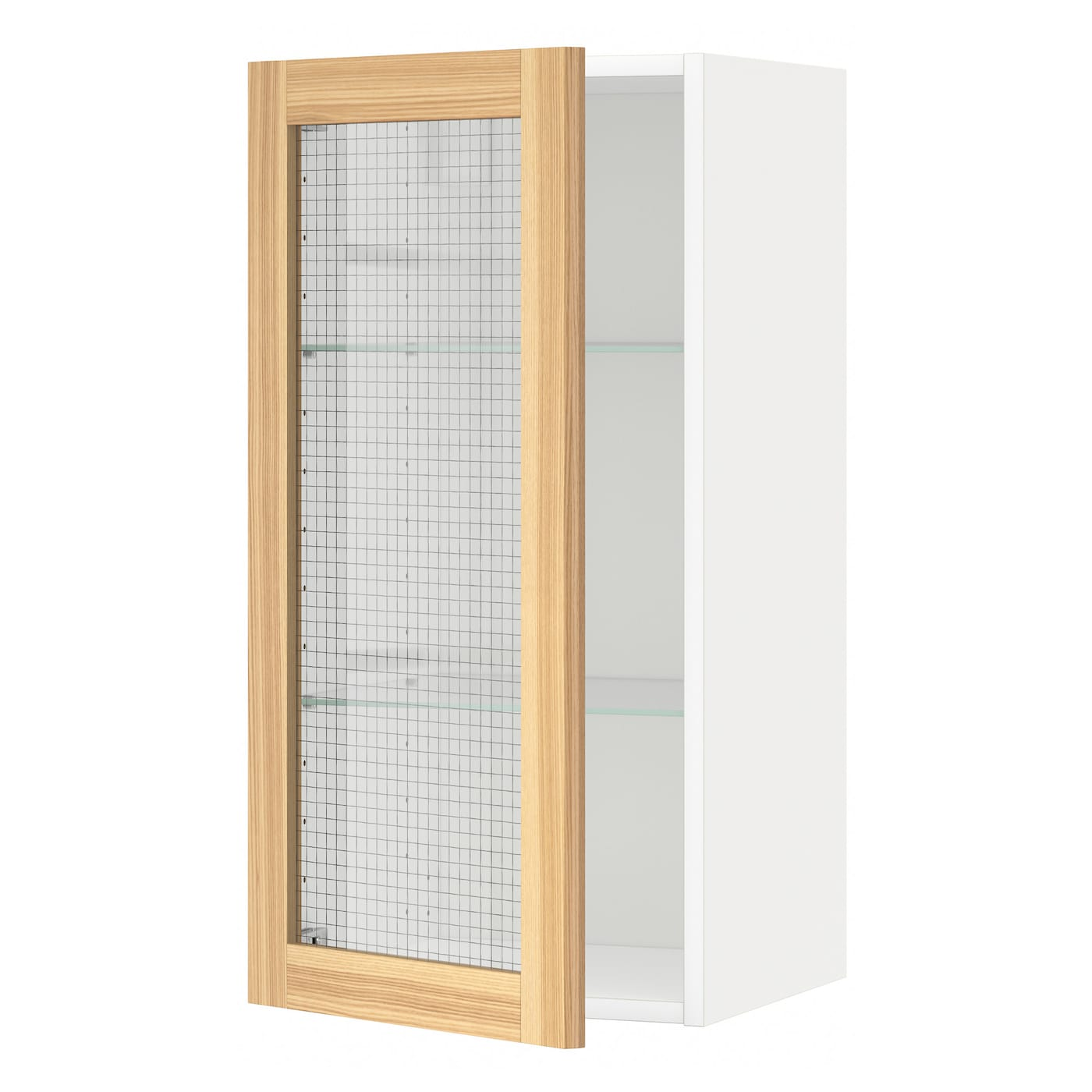 Metod wall cabinet w shelves glass door white torhamn ash for Ikea glass door wall cabinet