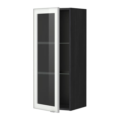 Ikea Bathroom Cabinet Glass Shelves ~ cabinet w shelves glass door  wood effect black, Jutis frosted glass