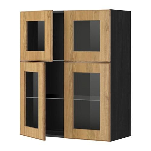Metod wall cabinet w shelves 4 glass drs wood effect for Oak effect kitchen wall units