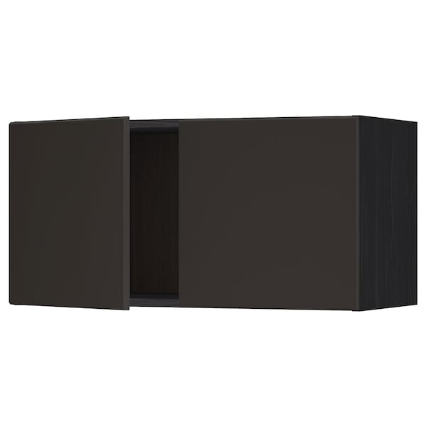 METOD Wall cabinet with 2 doors, black/Kungsbacka anthracite, 80x40 cm