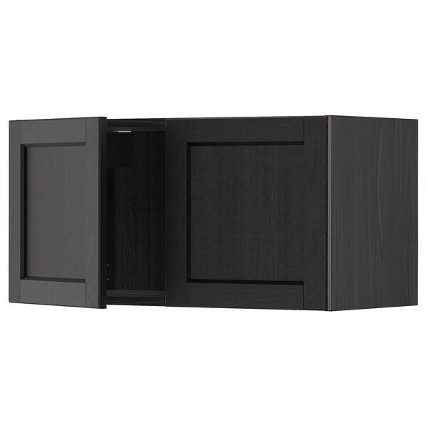 METOD Wall cabinet with 2 doors, black/Lerhyttan black stained, 80x40 cm