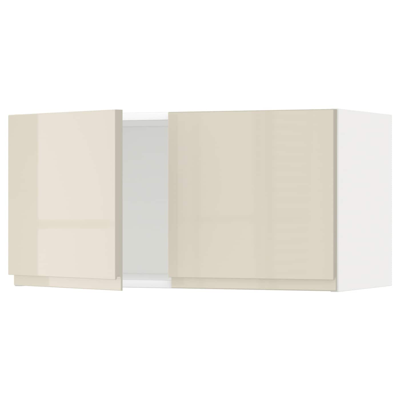 Metod Wall Cabinet With 2 Doors White Voxtorp High Gloss Light Beige 80x40 Cm Ikea