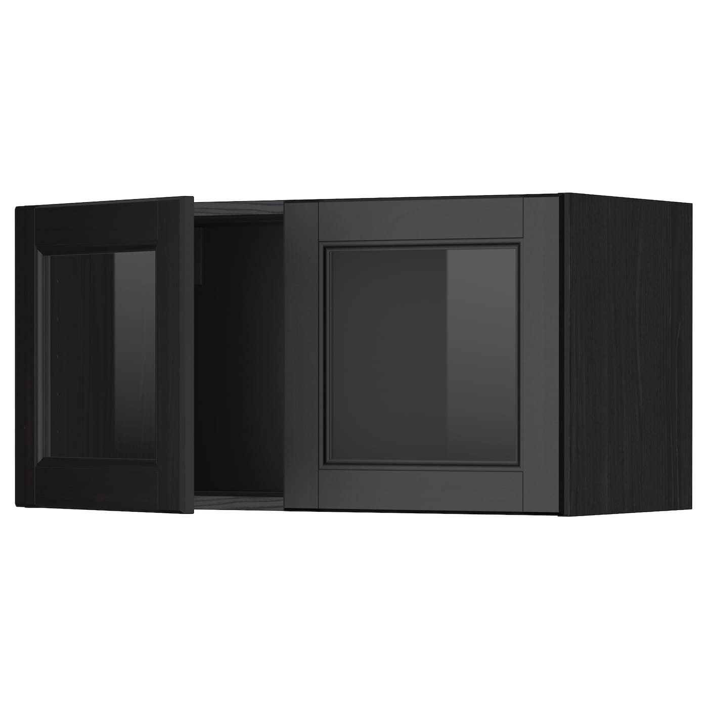 Metod wall cabinet with 2 glass doors black laxarby black for Glass kitchen wall units