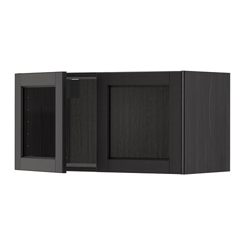 Metod Wall Cabinet With 2 Glass Doors Blacklerhyttan Black Stained