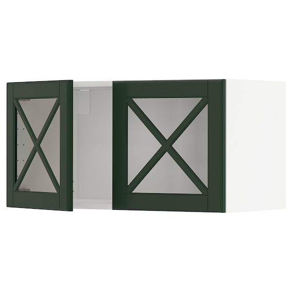METOD Wall cabinet with 2 glass doors, white/Bodbyn dark green, 80x40 cm