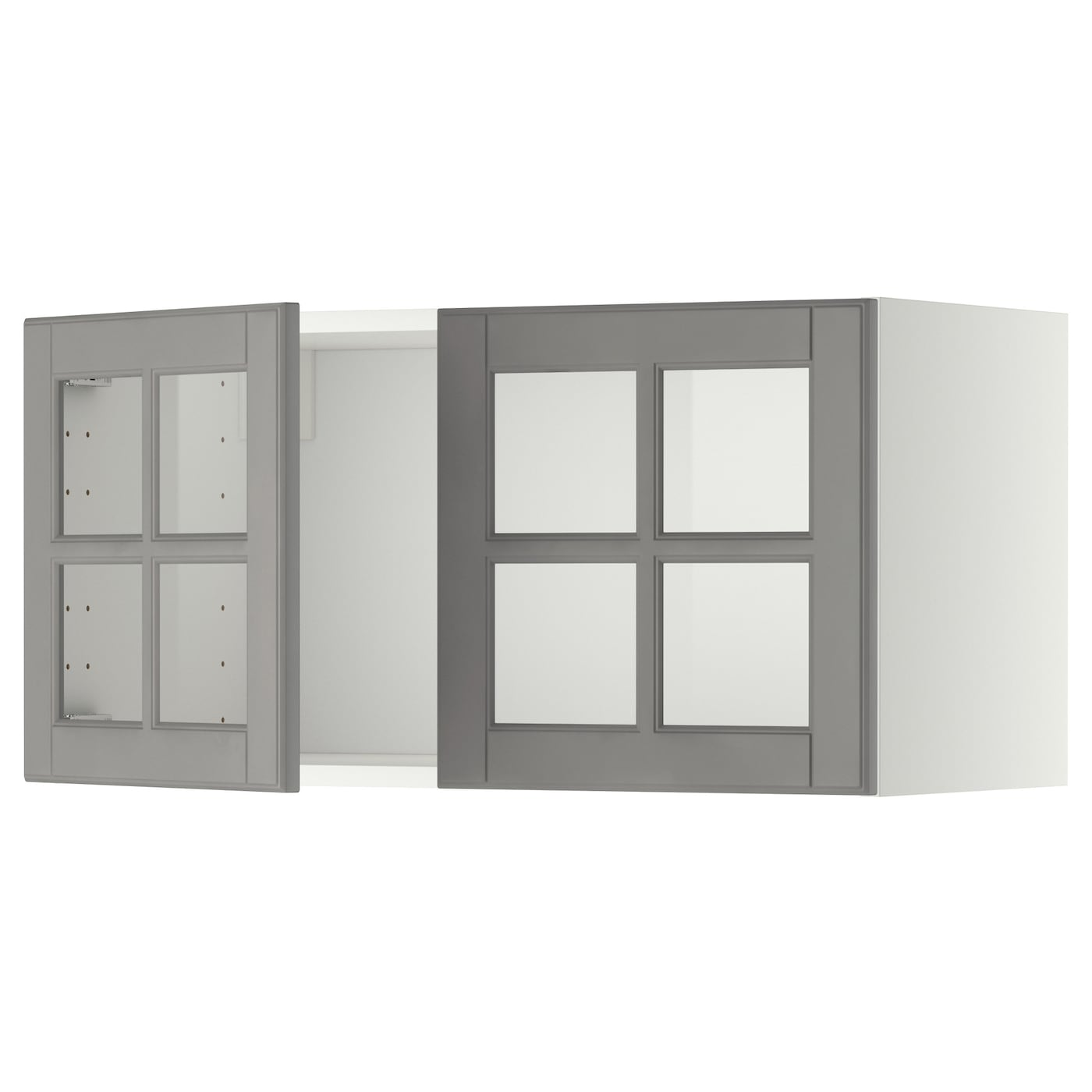 Metod Wall Cabinet With 2 Glass Doors Whitebodbyn Grey 80 X 40 Cm