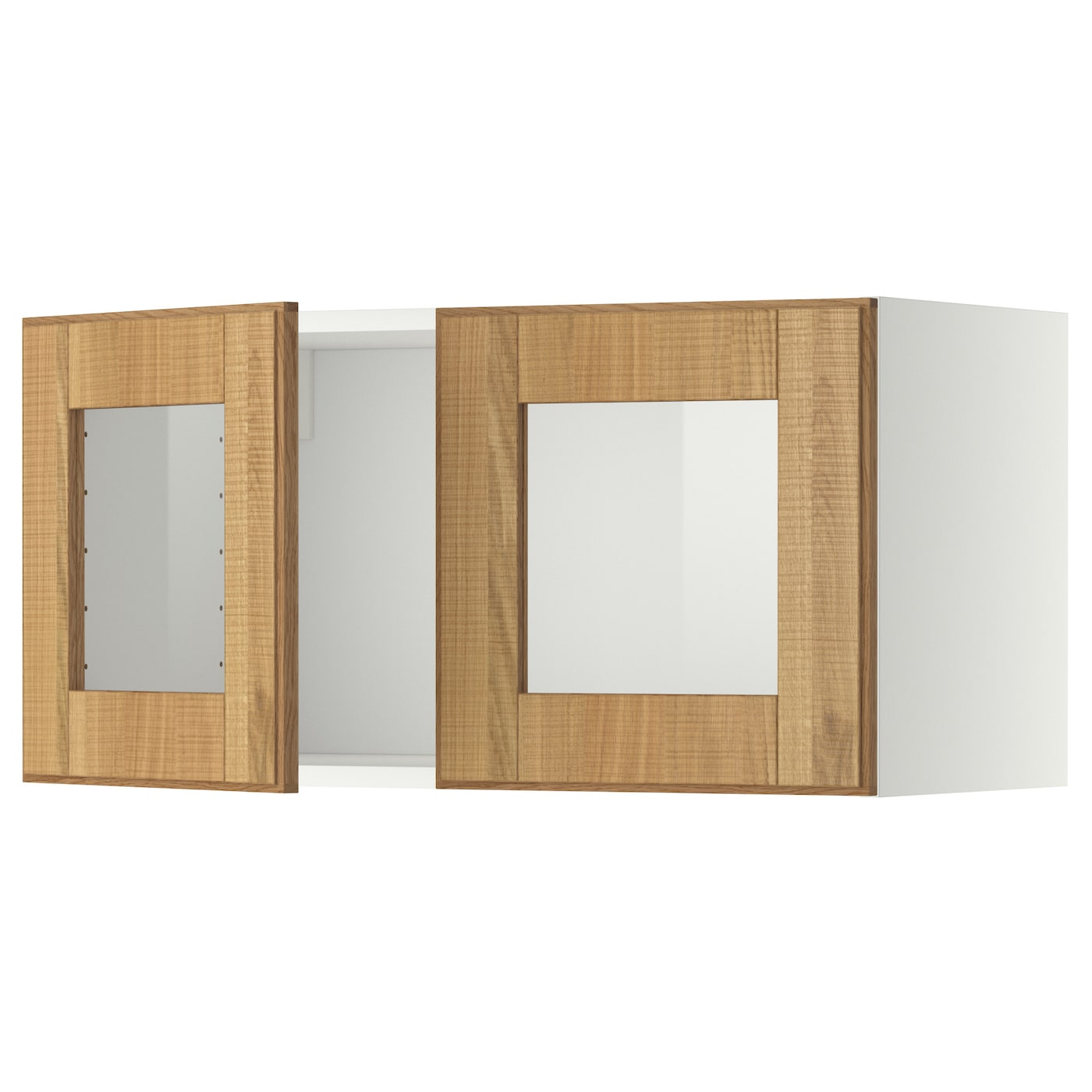 Metod wall cabinet with 2 glass doors white hyttan oak for Ikea glass door wall cabinet