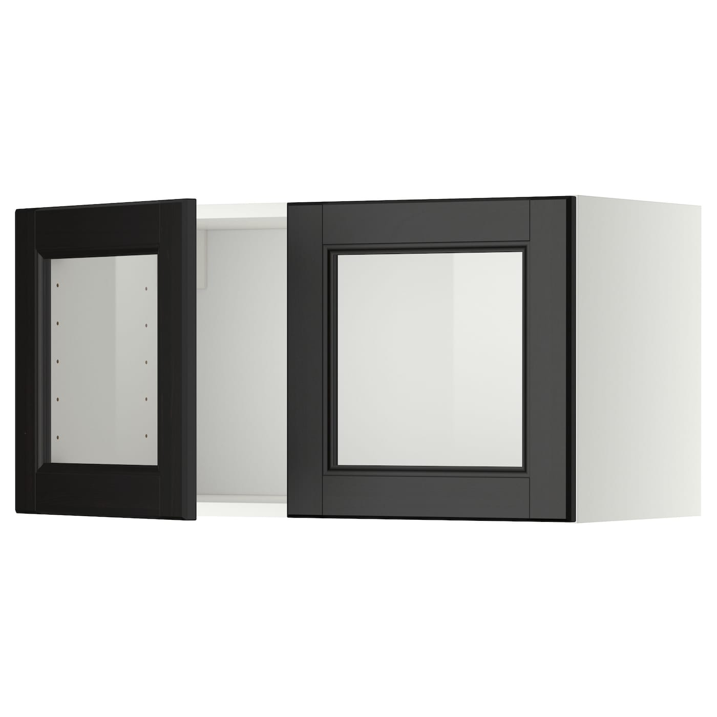 Metod wall cabinet with 2 glass doors white laxarby black for Black kitchen cabinets with glass doors