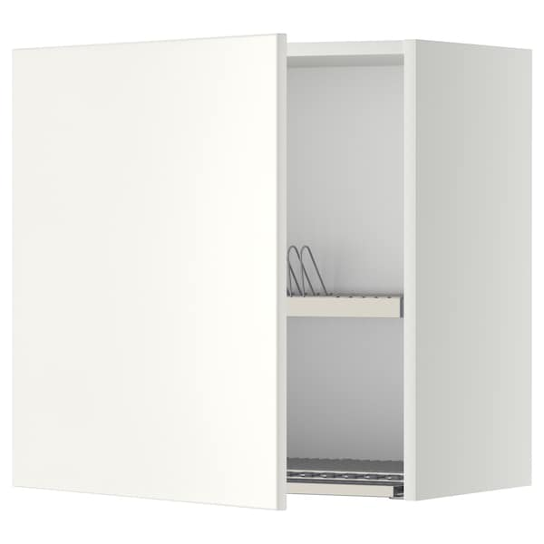 METOD Wall cabinet with dish drainer, white/Veddinge white, 60x60 cm