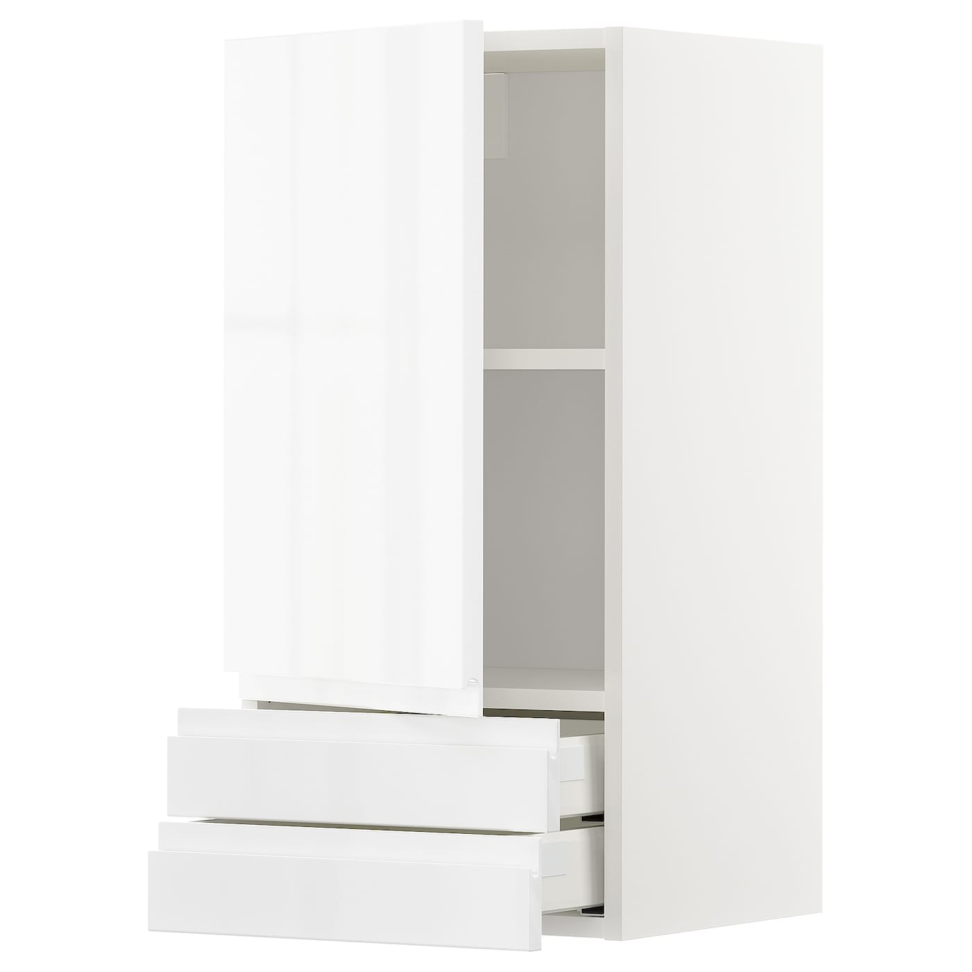 Metod wall cabinet with door 2 drawers white voxtorp high for White gloss kitchen wall cupboards