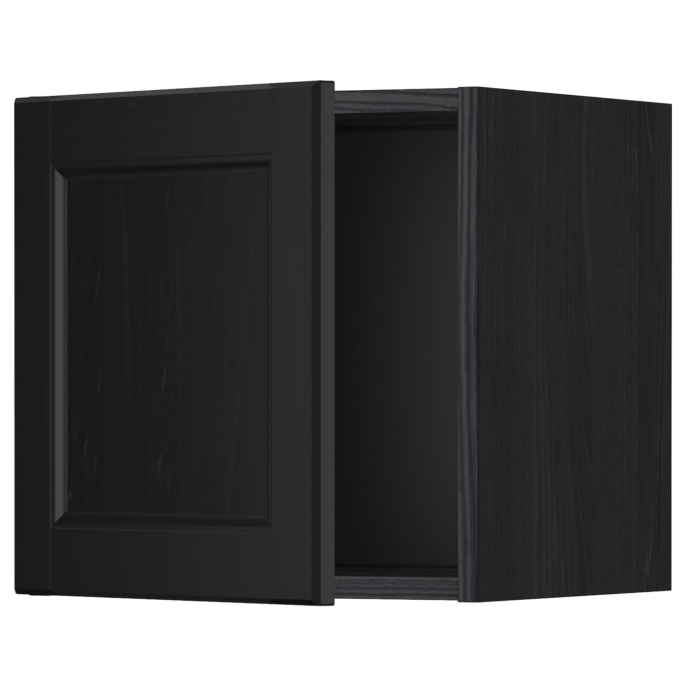 Metod wall cabinet with glass door black laxarby black for Ikea glass door wall cabinet