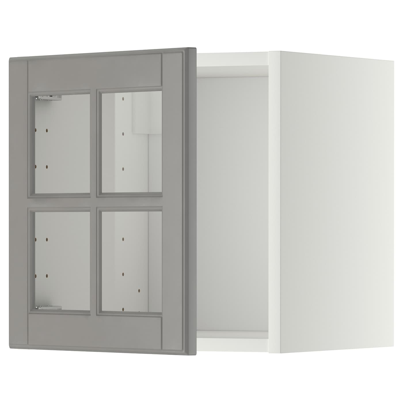 Metod wall cabinet with glass door white bodbyn grey 40x40 for Ikea glass door wall cabinet