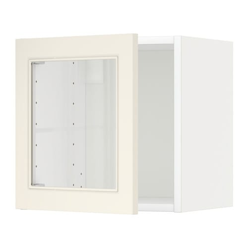 Metod wall cabinet with glass door white hittarp off white for Ikea glass door wall cabinet