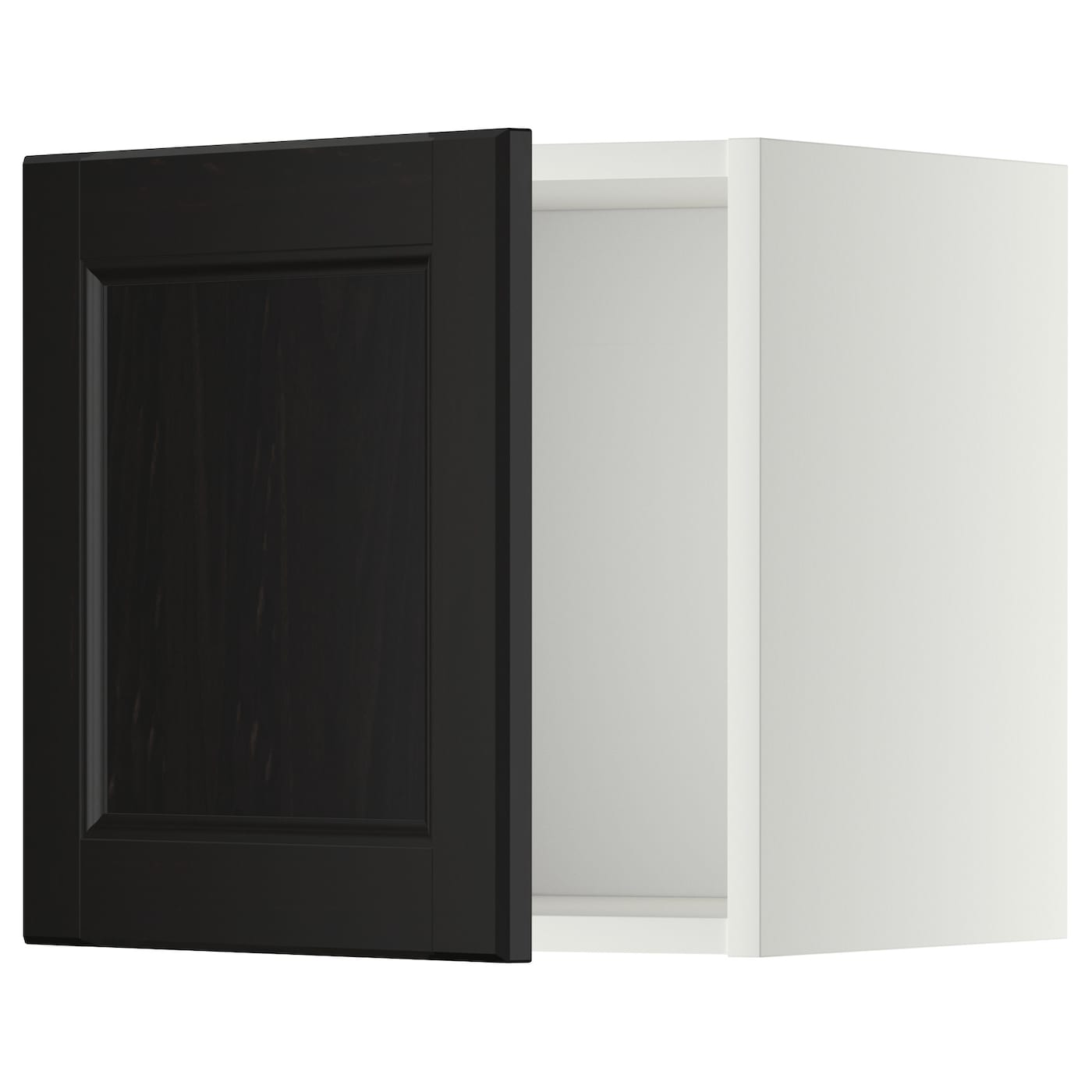 Metod wall cabinet with glass door white laxarby black for Ikea glass door wall cabinet