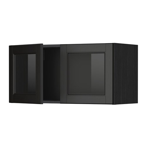 Metod wall cabinet with 2 glass doors wood effect black for Black kitchen cabinets with glass doors