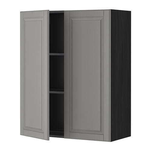metod wall cabinet with shelves 2 doors black bodbyn grey. Black Bedroom Furniture Sets. Home Design Ideas