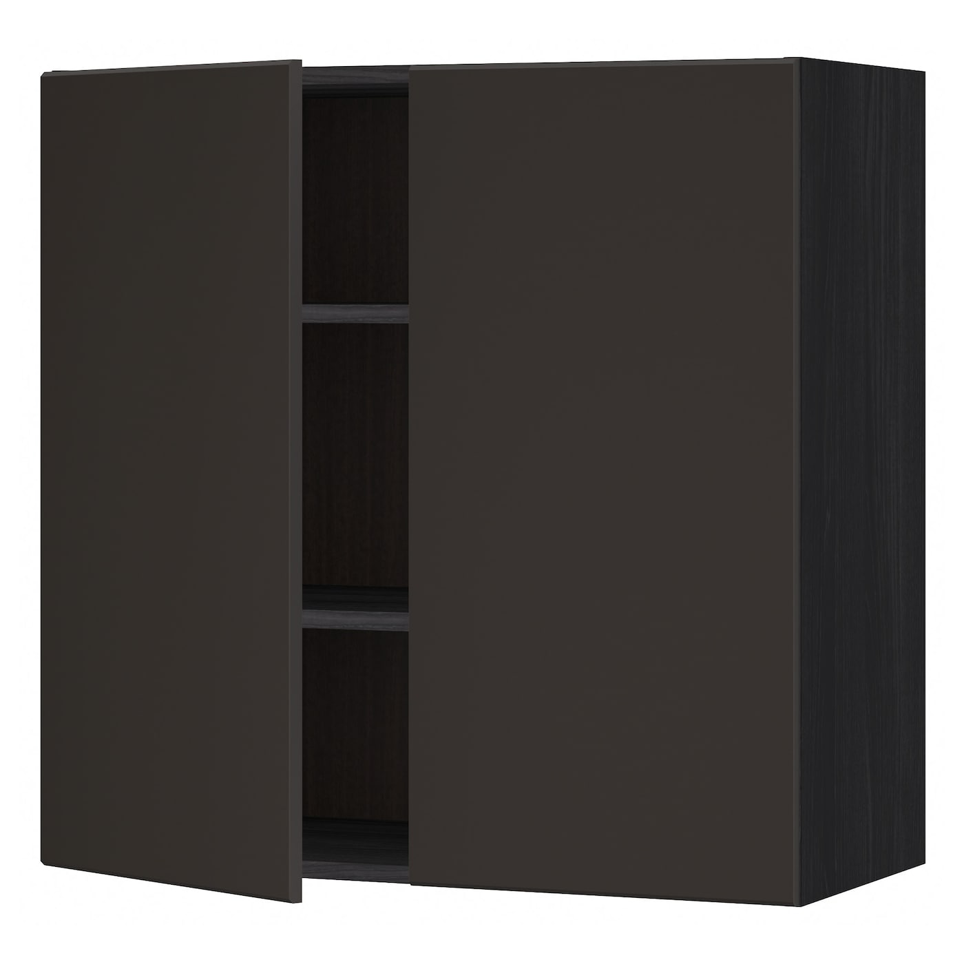 metod wall cabinet with shelves 2 doors black kungsbacka. Black Bedroom Furniture Sets. Home Design Ideas