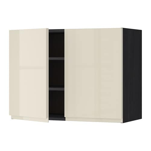 Metod Wall Cabinet With 2 Doors White Voxtorp High Gloss: METOD Wall Cabinet With Shelves/2 Doors Black/voxtorp High