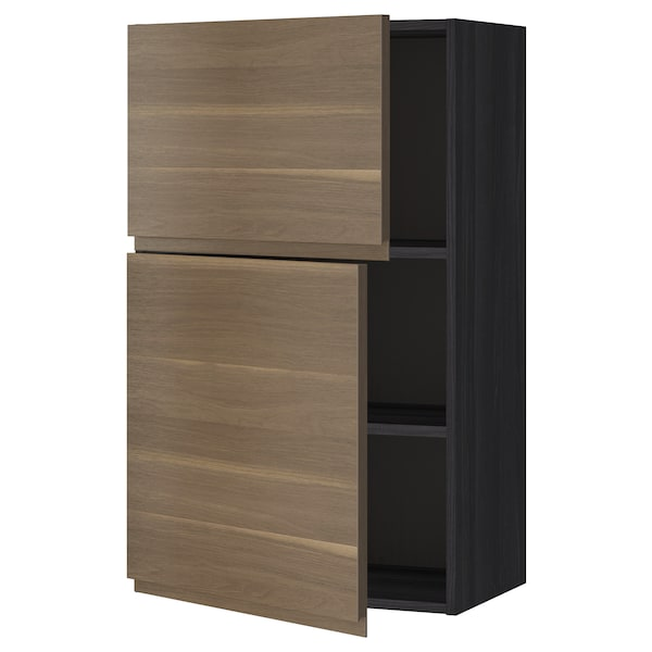 METOD Wall cabinet with shelves/2 doors, black/Voxtorp walnut effect, 60x100 cm