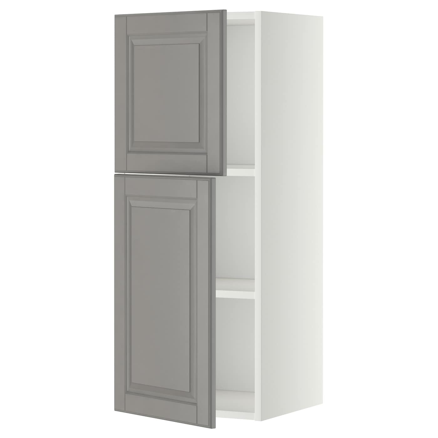 Metod Wall Cabinet With Shelves 2 Doors White Bodbyn Grey 40x100 Cm Ikea