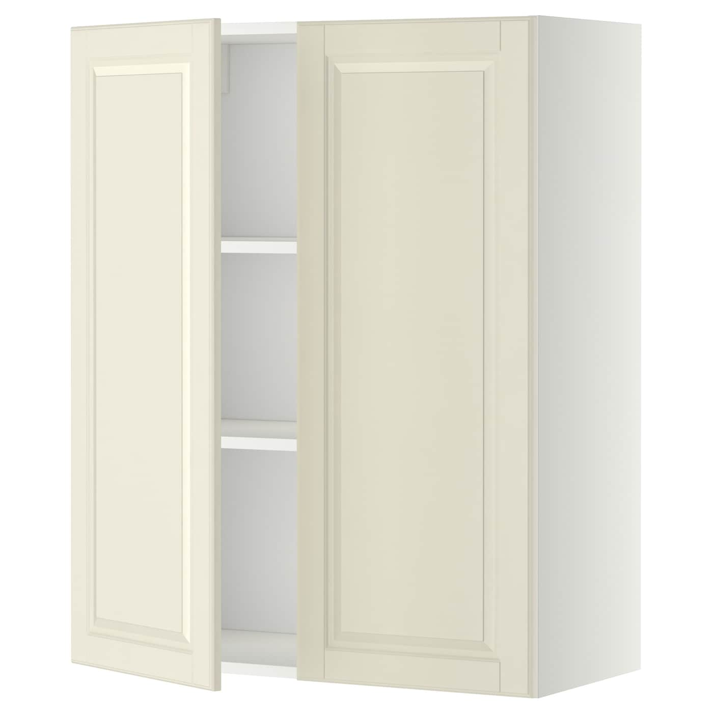 METOD Wall cabinet with shelves 2 doors White bodbyn off white