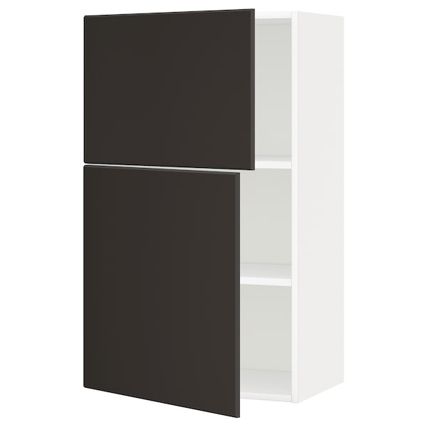 METOD Wall cabinet with shelves/2 doors, white/Kungsbacka anthracite, 60x100 cm