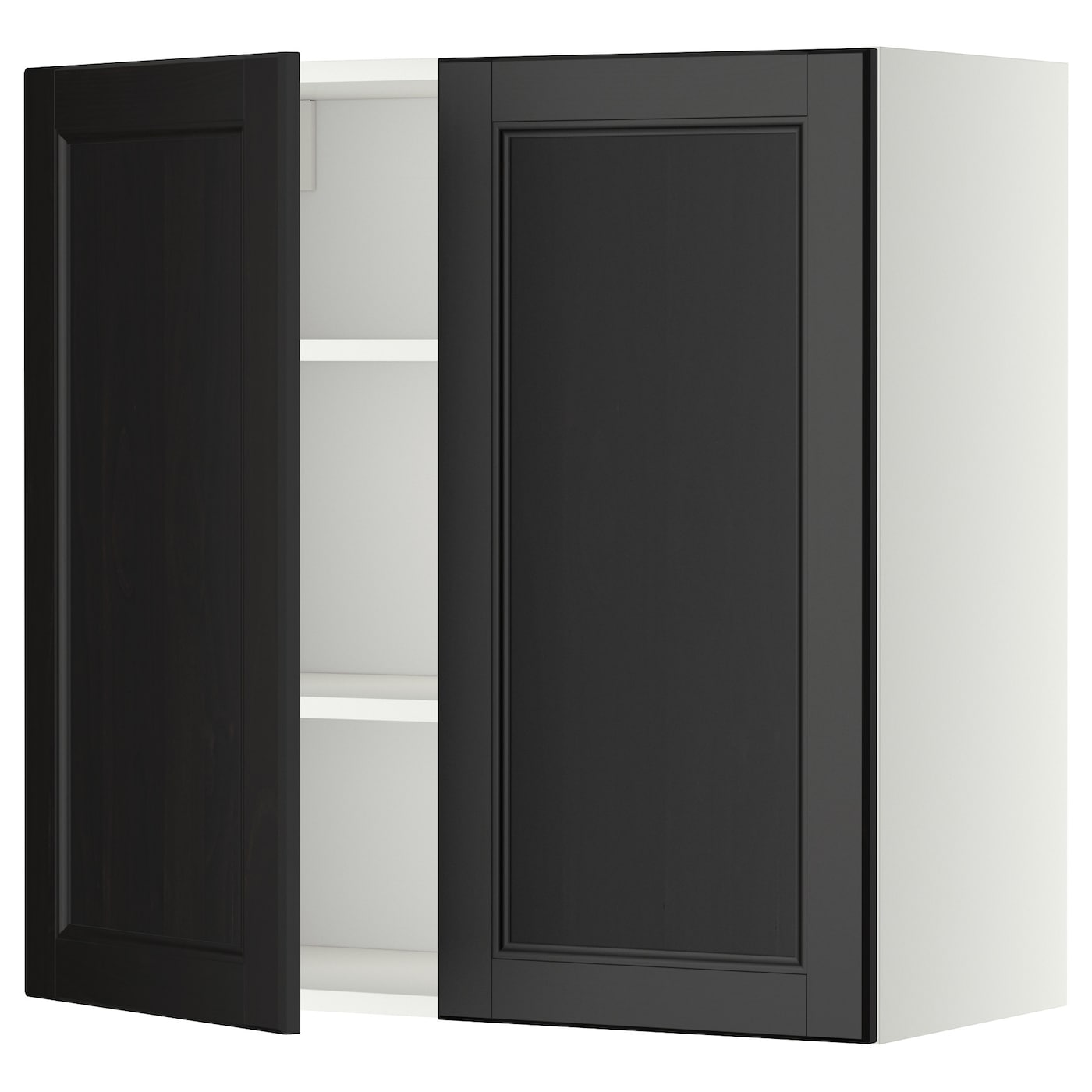 metod wall cabinet with shelves 2 doors white laxarby. Black Bedroom Furniture Sets. Home Design Ideas