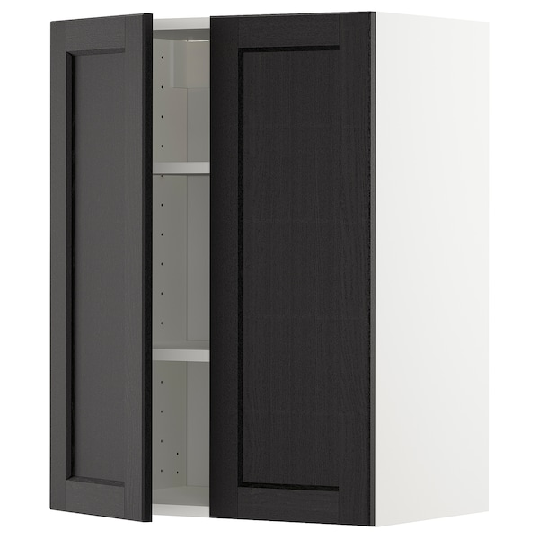 METOD Wall cabinet with shelves/2 doors, white/Lerhyttan black stained, 60x80 cm