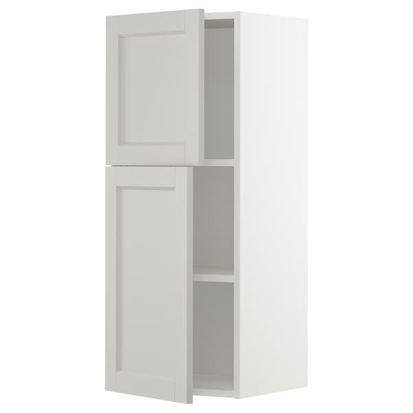 METOD Wall cabinet with shelves/2 doors, white/Lerhyttan light grey, 40x100 cm