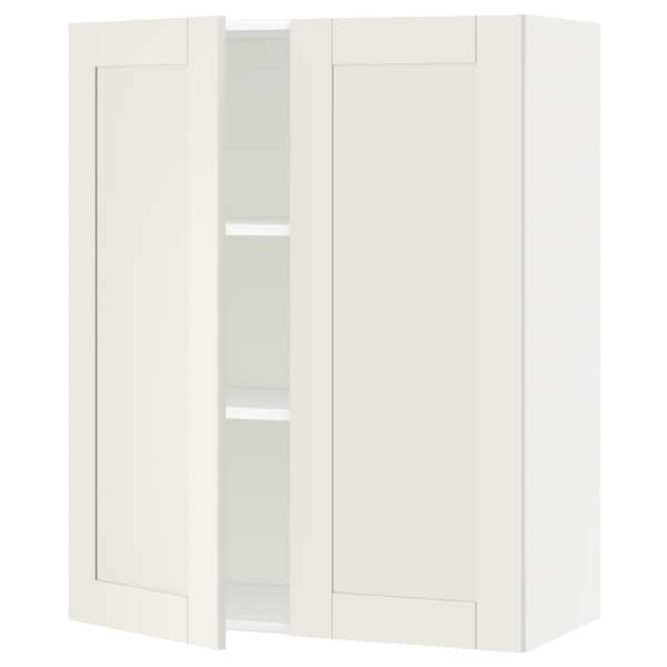 METOD Wall cabinet with shelves/2 doors, white/Sävedal white, 80x100 cm
