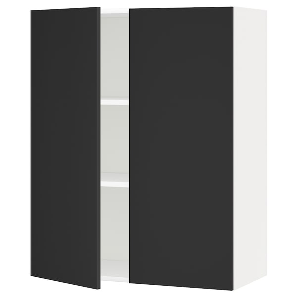 METOD Wall cabinet with shelves/2 doors, white/Uddevalla anthracite, 80x100 cm