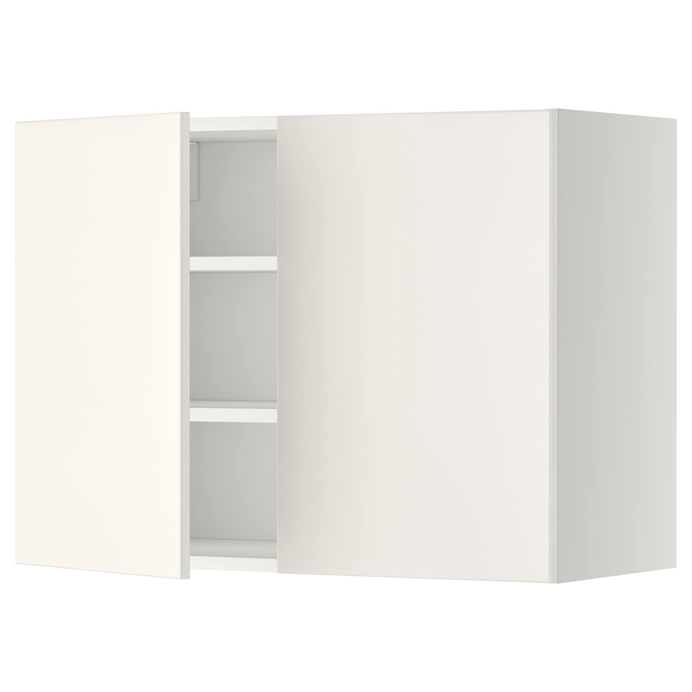 metod wall cabinet with shelves 2 doors white veddinge. Black Bedroom Furniture Sets. Home Design Ideas