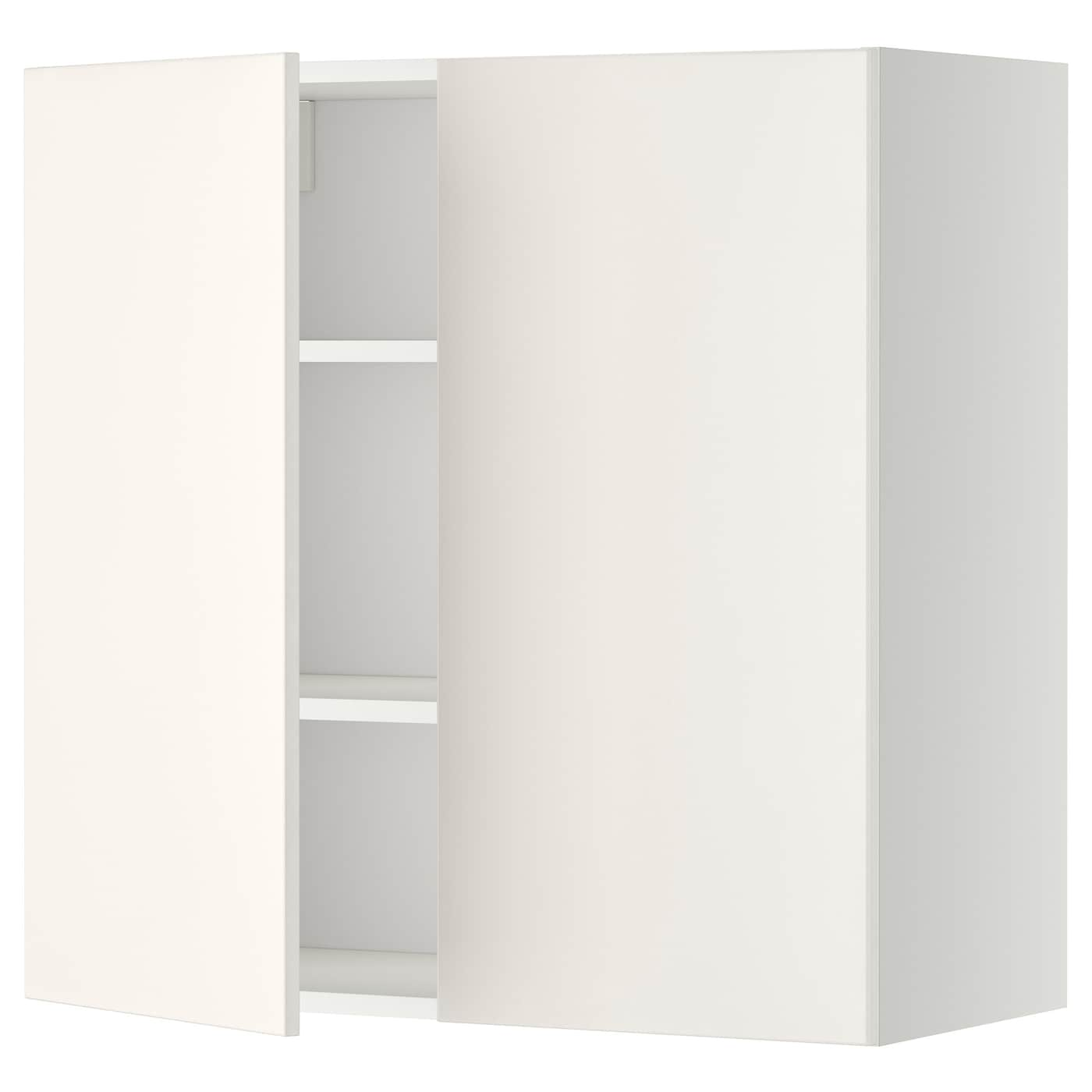 Metod Wall Cabinet With Shelves 2 Doors White Veddinge White 80×80 Cm Ikea