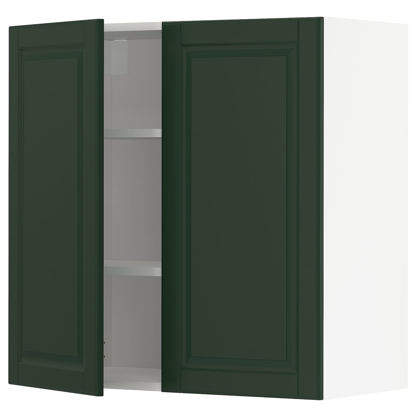 METOD white, Bodbyn dark green, Wall cabinet with shelves ...