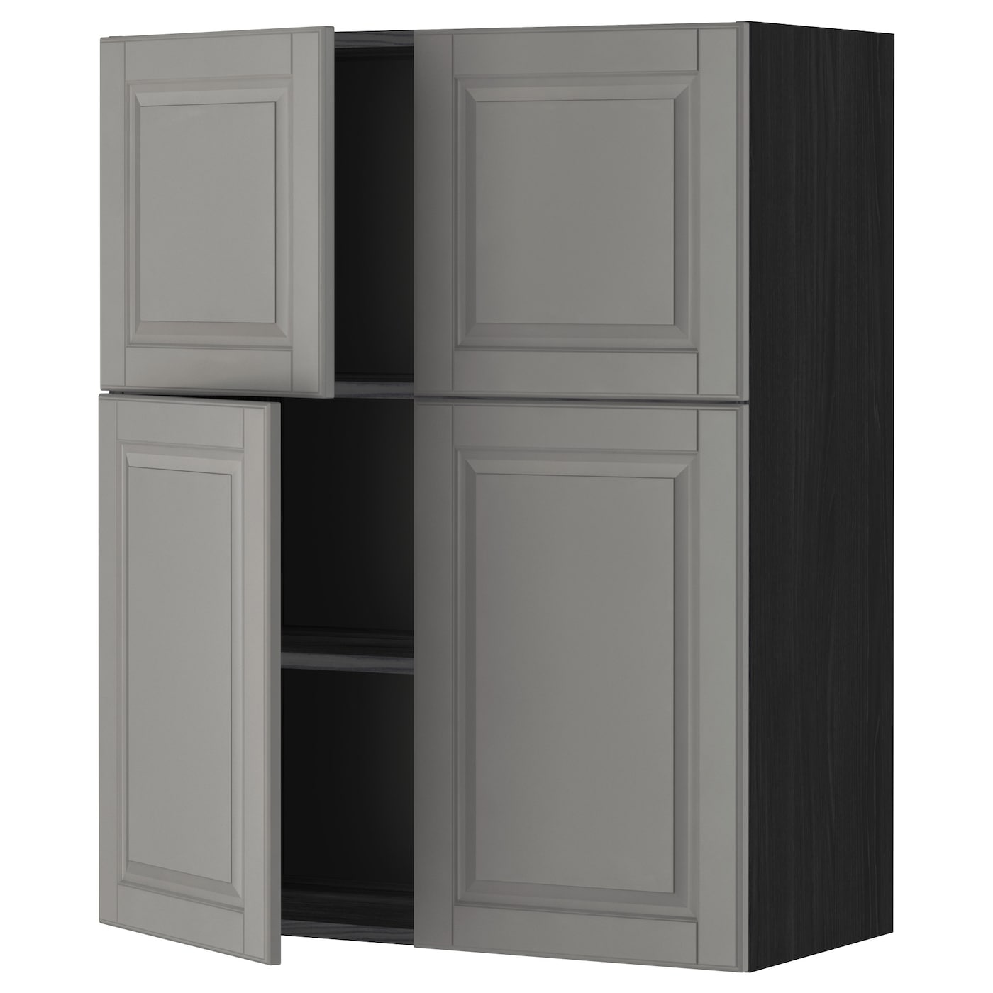 IKEA METOD wall cabinet with shelves/4 doors Sturdy frame construction, 18 mm thick.