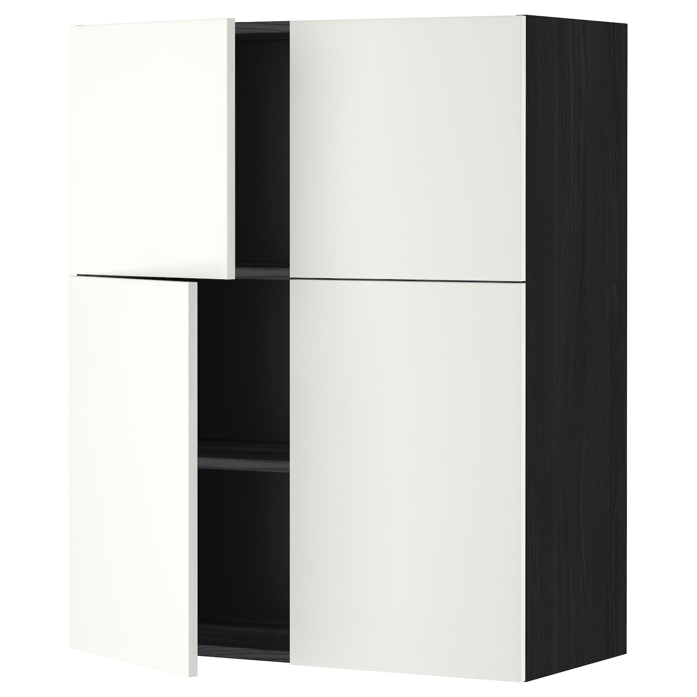 metod wall cabinet with shelves 4 doors black h ggeby. Black Bedroom Furniture Sets. Home Design Ideas