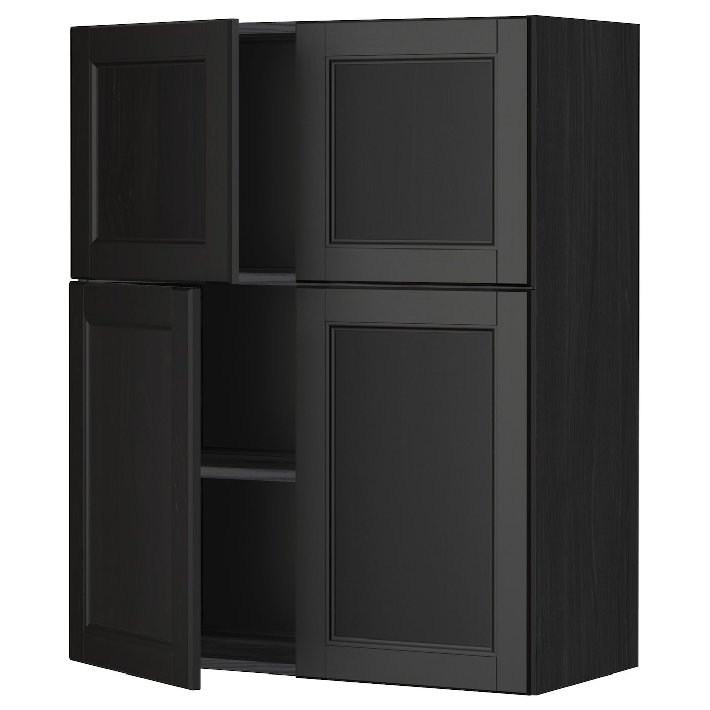 metod wall cabinet with shelves 4 doors black laxarby. Black Bedroom Furniture Sets. Home Design Ideas